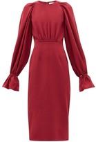 Roksanda Vaniria Gathered Cady Pencil Dress - Womens - Burgundy