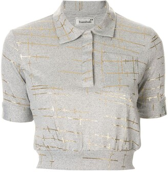 Bambah Marble Cropped Polo Top