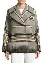 Max Mara Striped Fox Fur Trim Coat