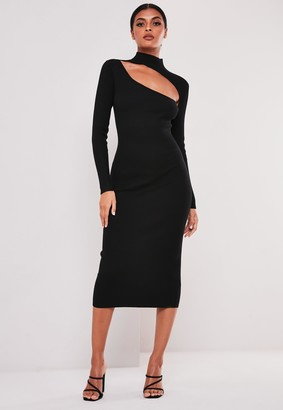 Missguided Black Cut Out High Neck Knitted Midi Dress