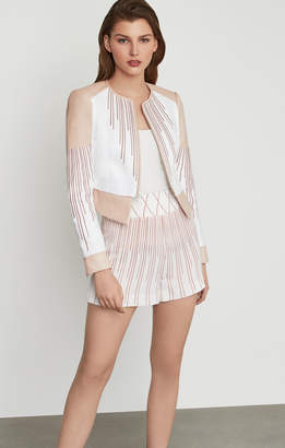 BCBGMAXAZRIA Sunburst Fan Moto Jacket