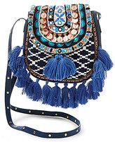 Steve Madden Steven by Tiva Beaded Tasseled Tapestry Saddle Bag