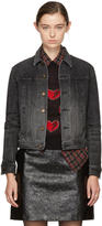 Saint Laurent Black Denim Heart and Lightning Bolt Jacket