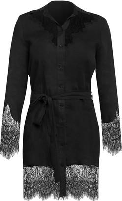 Cliché Reborn Linen Shirt Dress With Lace Trim In Black
