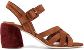 Miu Miu Shearling-trimmed Suede Sandals - Tan