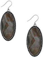 Lucky Brand Silvertone Black Stone Earrings