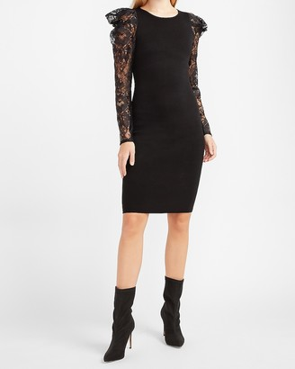 Express Lace Puff Sleeve Sweater Dress