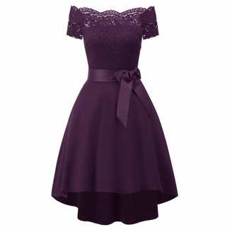 LAPLE Bright Deer Women Lace Scallop Bardot Dip Hem Vintage Pinup Elegant Dress (Grape S)