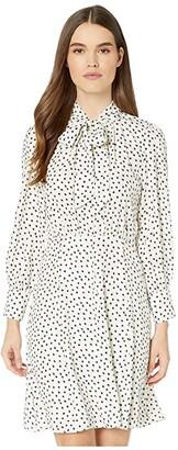 Rebecca Taylor Long Sleeve Blurry Heart Dress (Snow Combo) Women's Dress