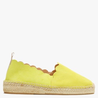 Carmen Saiz Yellow Suede Scalloped Edge Espadrilles