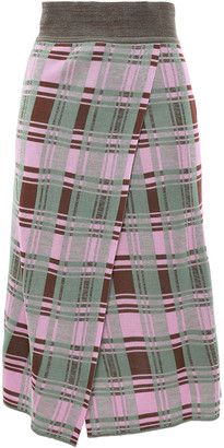 GOEN.J Wrap-effect Checked Stretch-knit Skirt