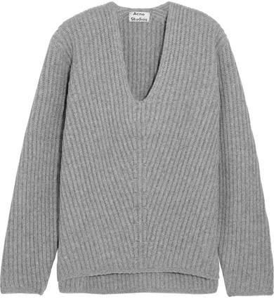 Acne Studios Deborah Oversized Ribbed Wool Sweater - Light gray