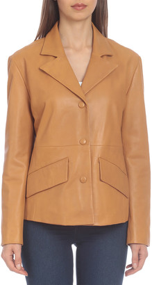 Badgley Mischka Single-Breasted Leather Blazer