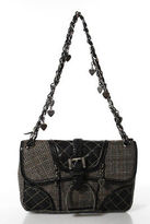 Luella Brown Wool Plaid Silver Tone Chain Strap Shoulder Handbag