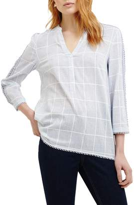 Phase Eight Lynsey Check Blouse, Smoke Blue/Ivory