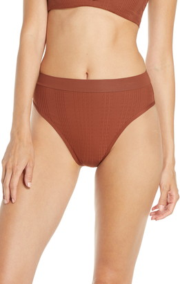 L-Space French Cut High Waist Textured Swim Bottoms