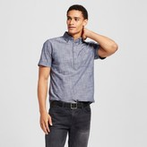 Merona Men's Short Sleeve Poplin Button Down Popover Shirt Blue Chambray