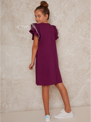 Chi Chi London Girls Elisa Dress - Berry