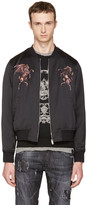 Alexander McQueen Black Embroidered Bomber Jacket