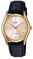 Casio MTP - 1154PQ - 7AEF-Collection Men's Watch Analogue Quartz White Dial Black Leather Strap Beige