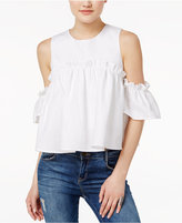 J.o.a. Linen Ruffled Cold-Shoulder Top