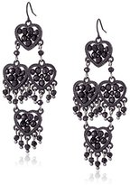 "Betsey Johnson Pitch Black"" Woven Faceted Bead Heart Chandelier Drop Earrings"