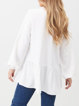 Very Longline Button Through Tunic Blouse - Ivory