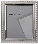 Evergreen Tarnish Resistant Silver Plated Bead Photo/Picture Frame, 8x10 inch