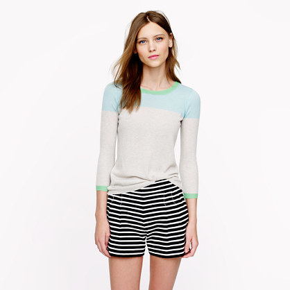 J.Crew Collection featherweight cashmere sweater in colorblock