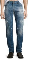Just Cavalli Destroyed Straight-Leg Jeans, Blue