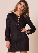 Missy Empire Anastasia Black Suede Cross Detail Shift Dress