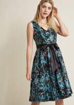 ModCloth Jacquard Fit and Flare Dress with Pockets in Vines in 2X - Sleeveless Fit & Flare Knee Length