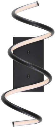 "Jonathan Y Designs Scribble 7"" Modern Metal Integrated LED Vanity Light Sconce, Black"
