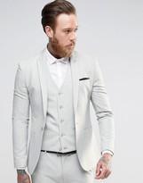 Asos Super Skinny Suit Jacket In Light Gray