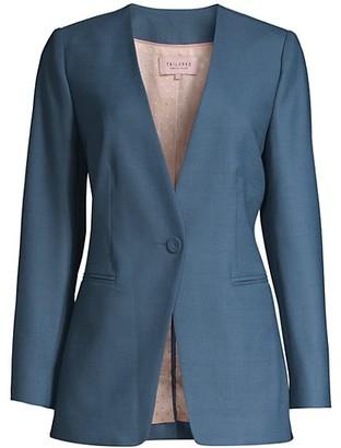Rebecca Taylor Gabardine Collarless Blazer Jacket