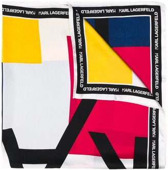 Karl Lagerfeld Paris Silk Logo Print Scarf