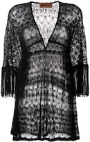 Fringed-Sleeve Knitted Dress