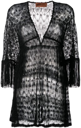 Missoni Mare Fringed-Sleeve Knitted Dress