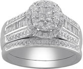 MODERN BRIDE Cherished Hearts 1 CT. T.W. Certified Diamond Princess-Cut and Round Bridal Ring Set