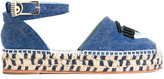 Chiara Ferragni platform espadrilles - women - Cotton/Raffia/Leather/rubber - 36