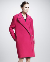 Snap-Front Coat With Drop Shoulder