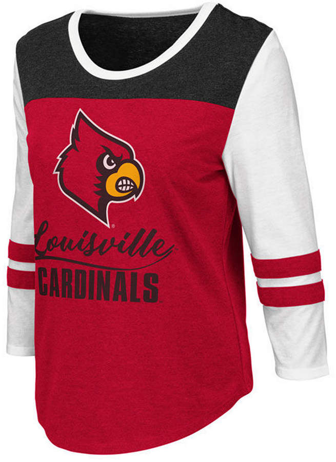 Colosseum Women Louisville Cardinals Colorblocked Raglan T-Shirt