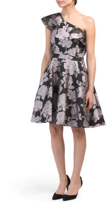 Made In Usa Ruffle Brocade Party Dress