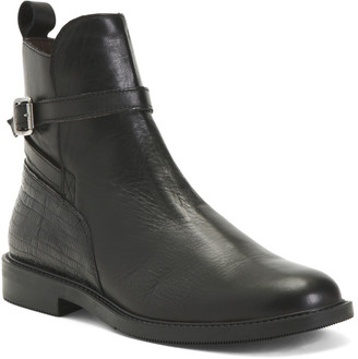 Made In Italy Leather Ankle Booties With Side Zip
