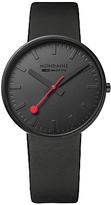 Mondaine A660.30328.64SBO Unisex Evo Giant Leather Strap Watch, Black