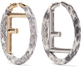 Fendi Elaphe, Gold And Silver-plated Hoop Earrings
