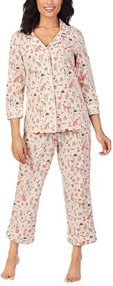 Bedhead Pajamas Organically Grown Cotton Elastane 3/4 Sleeve Cropped PJ Set (Fox Trot) Women's Pajama Sets