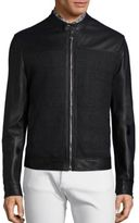 Versace Woven Lambskin Leather Jacket