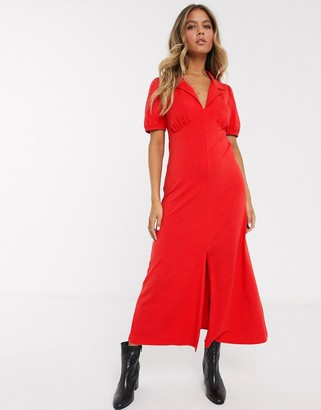 ASOS DESIGN ultimate midi tea dress with collar in red