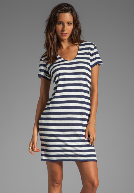 Theory Karelo L Dress in Navy/Ivory